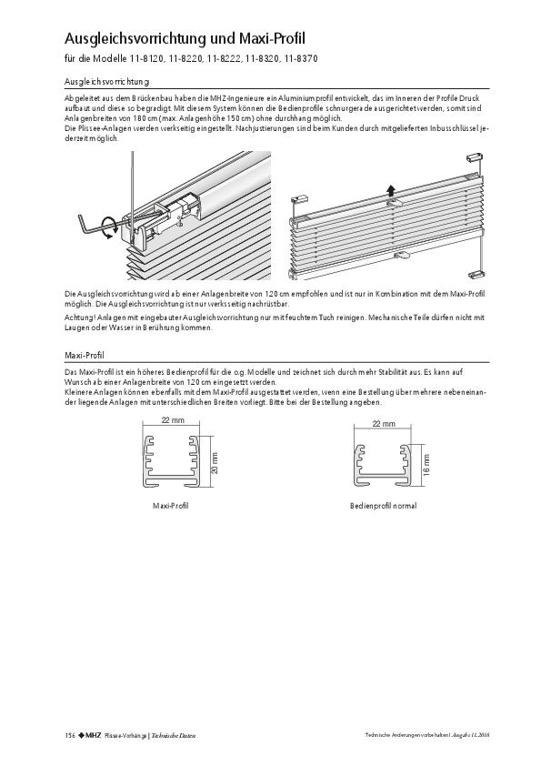 Produktdatenblatt Plissee Ausgleichsvorrichtung