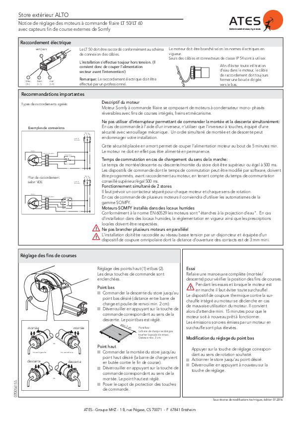 Notice de réglage moteurs filaire Somfy LT 50/LT 60 avec capteurs fin de course externes pour store exterieur ALTO