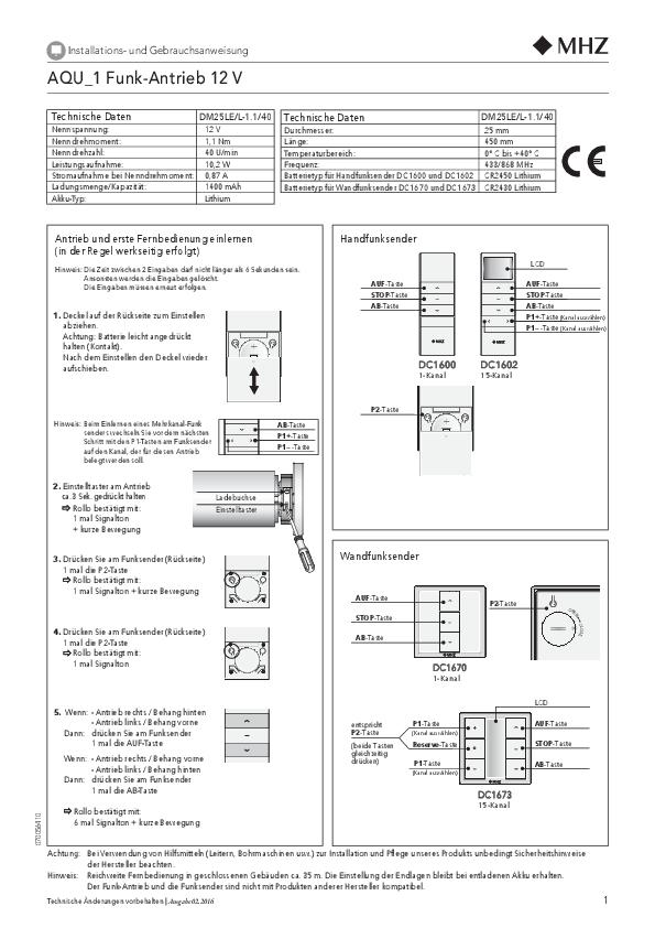 Installations- und Gebrauchsanweisung Rollo AQU_1