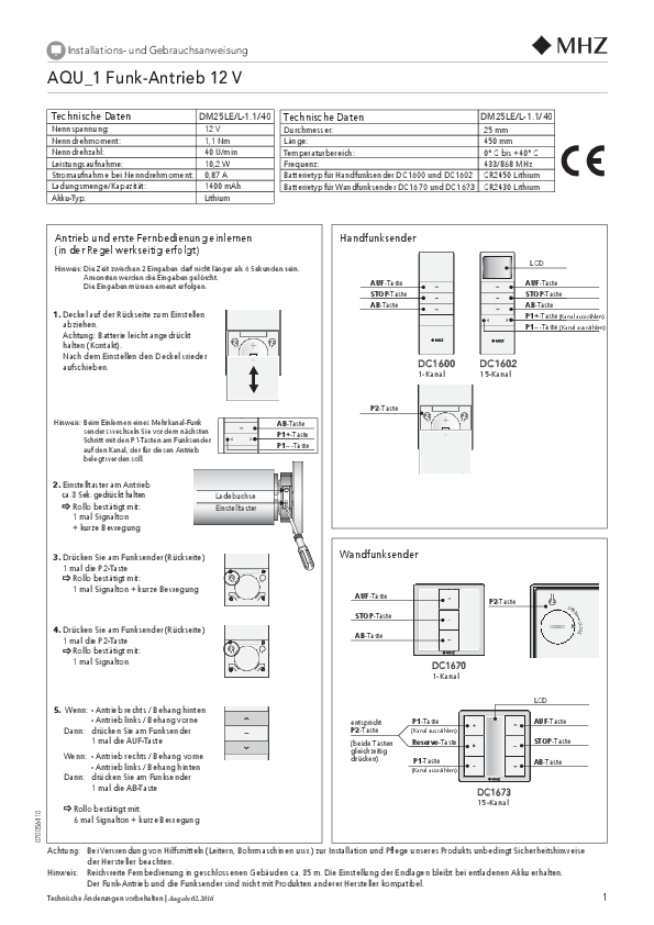 Installatie- en gebruiksaanwijzing rolgordijn AQU_1