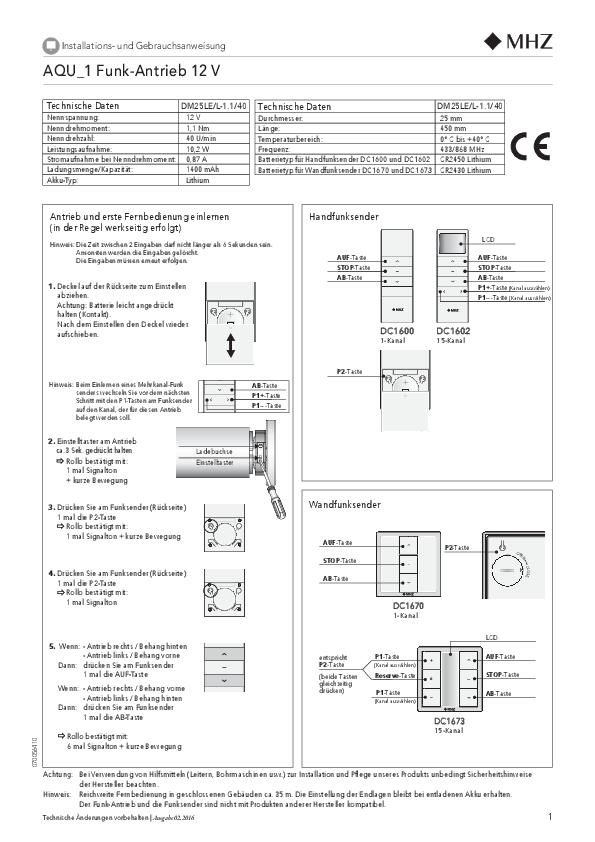 Istruzioni per l'installazione e per l'uso tende a rullo AQU_1
