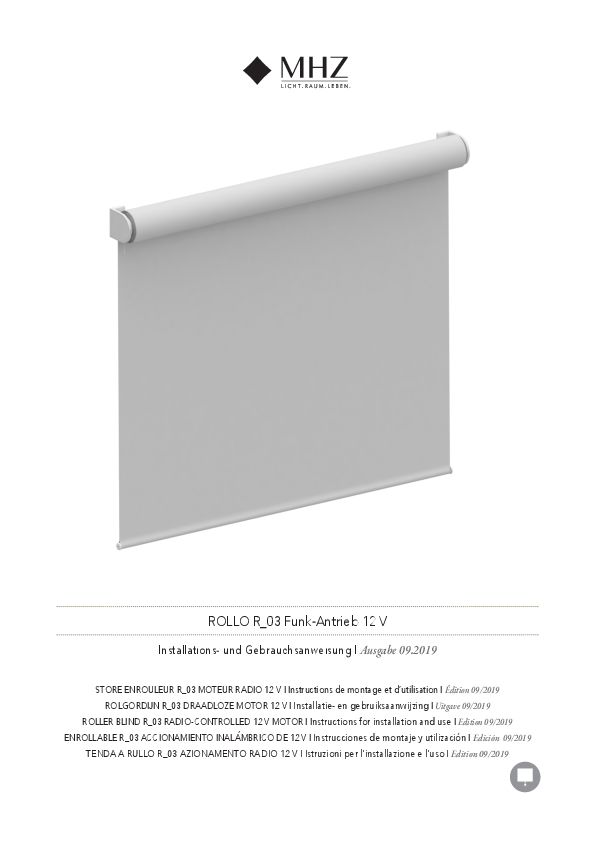 Istruzioni per l'installazione e per l'uso tenda a rullo R_03 azionamento radio 12 V