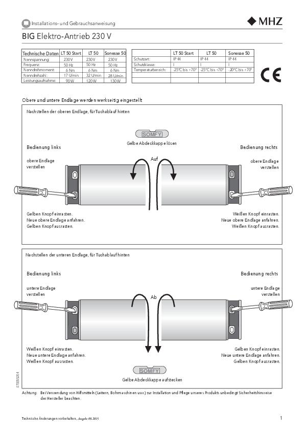Montage- und Bedienungsanleitung Rollo BIG mit Elektroantrieb
