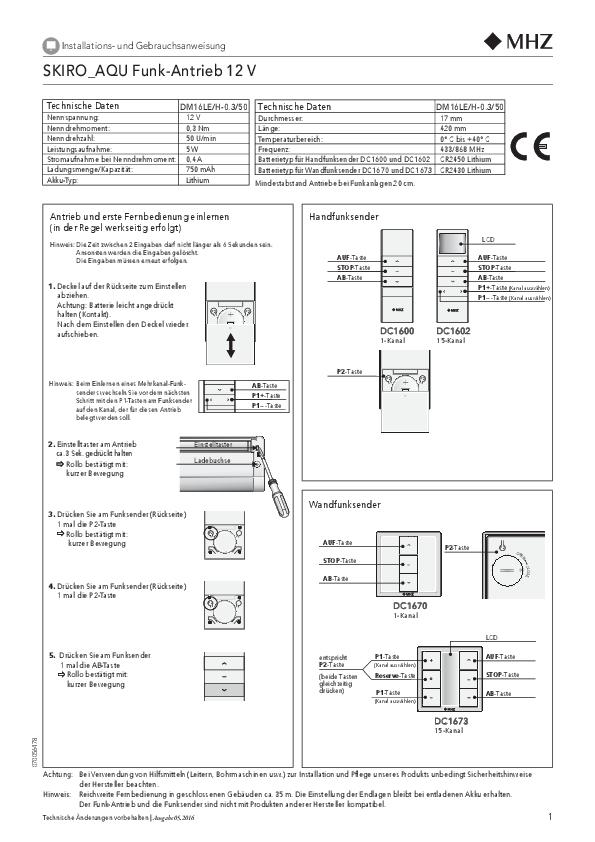 Notice de montage et d'utilisation store enrouleur SKIRO_AQU