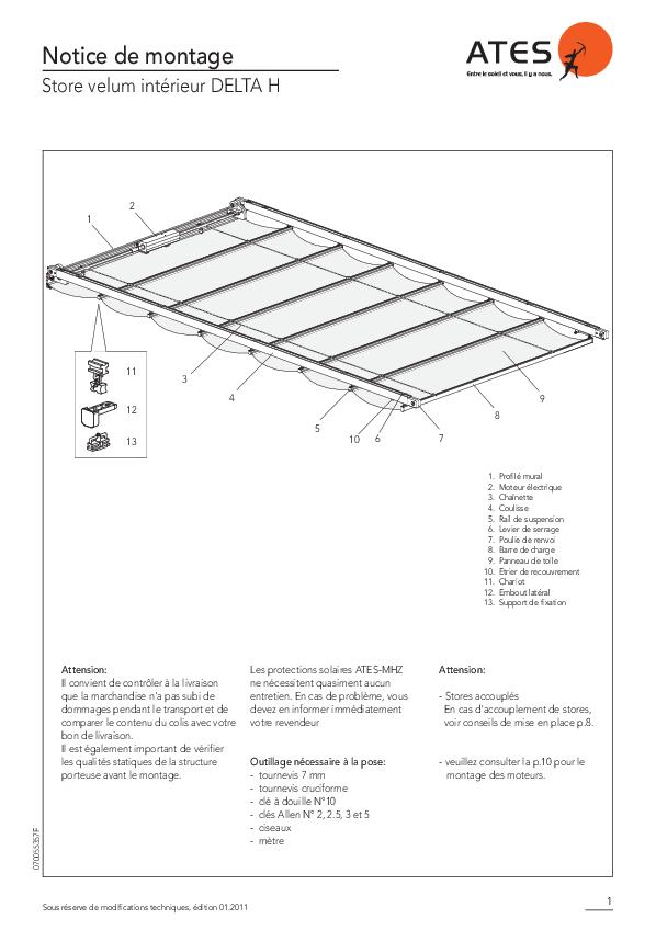 Notice de montage store velum intérieur DELTA H