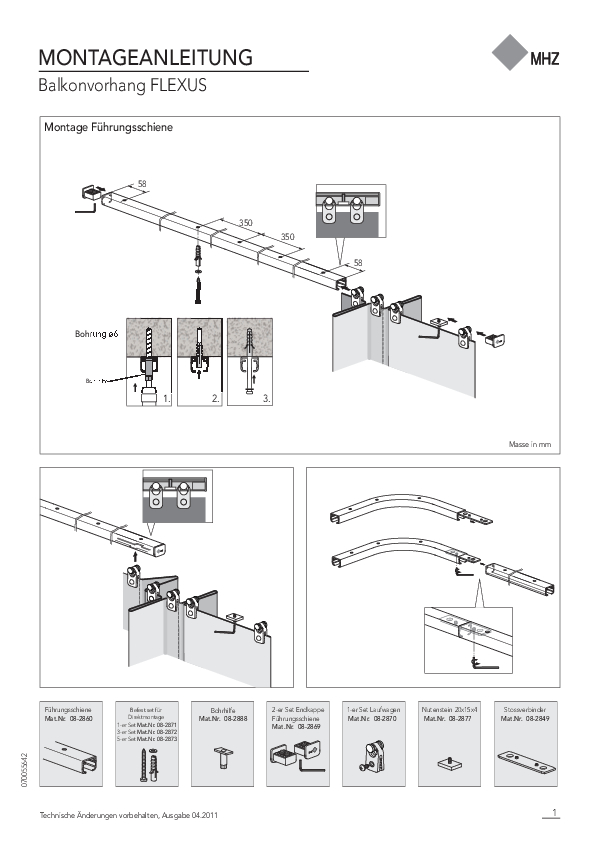 Montageanleitung Balkonvorhang FLEXUS