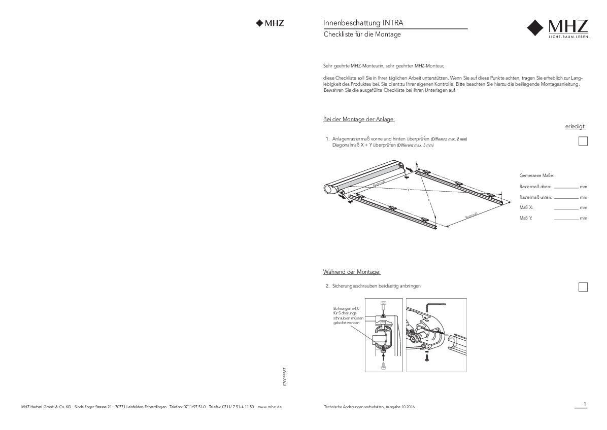 Innenbeschattung INTRA Checkliste für Montage