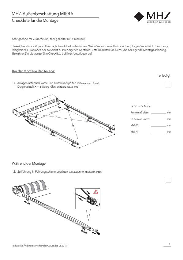 Checkliste für Montage Außenbeschattung MIKRA