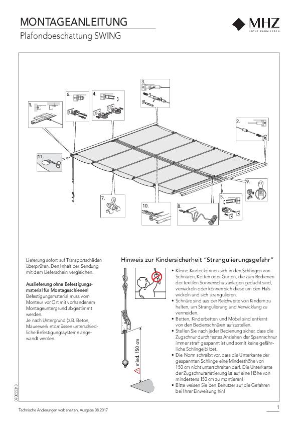Montageanleitung Plafondbeschattung SWING
