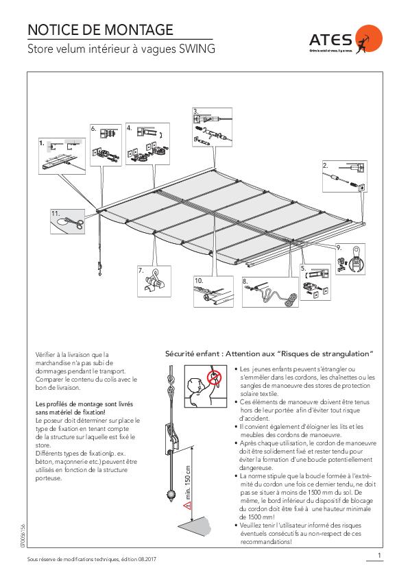 Notice de montage store velum intérieur SWING
