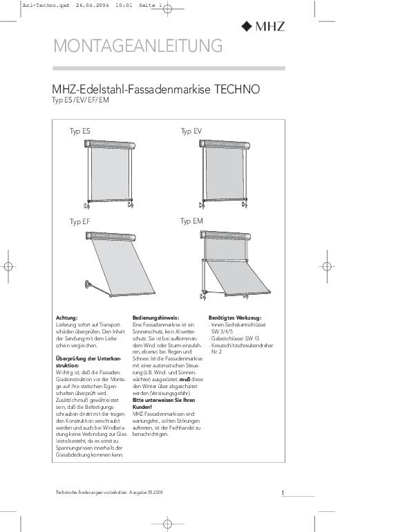 Montageanleitung Edelstahl-Fassadenmarkisen TECHNO