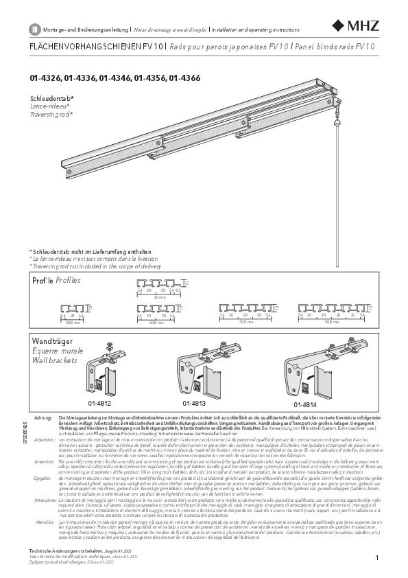 Montageanleitung Flächenvorhang FV 10