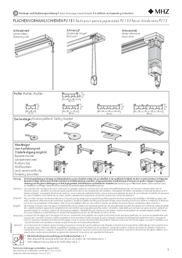 Montageanleitung Flächenvorhang FV 15