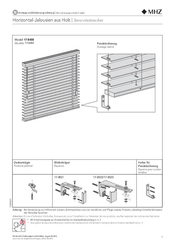 Montage und Bedienungsanleitung Horizontal-Jalousien aus Holz EXCLUSIV