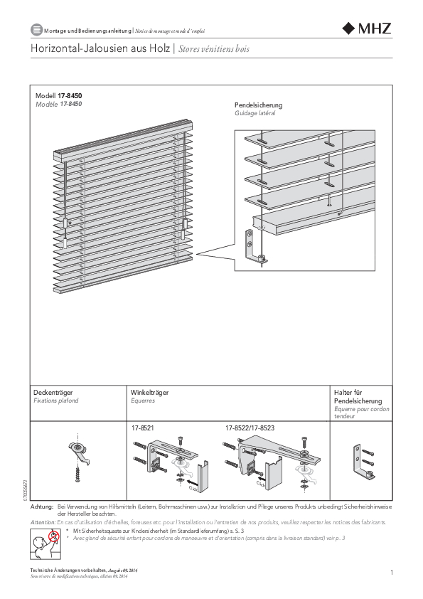 Notice de montage stores vénitiens en bois EXCLUSIV
