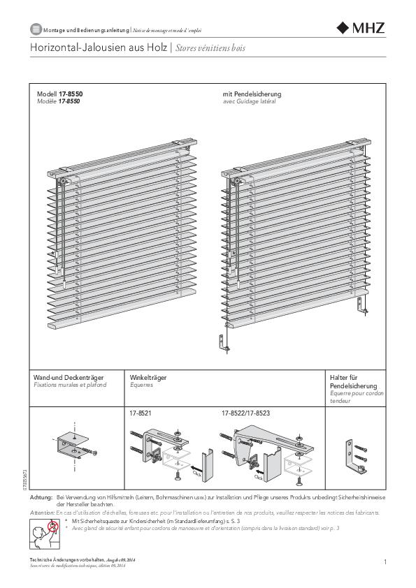 Montage und Bedienungsanleitung Horizontal-Jalousien aus Holz RETRO