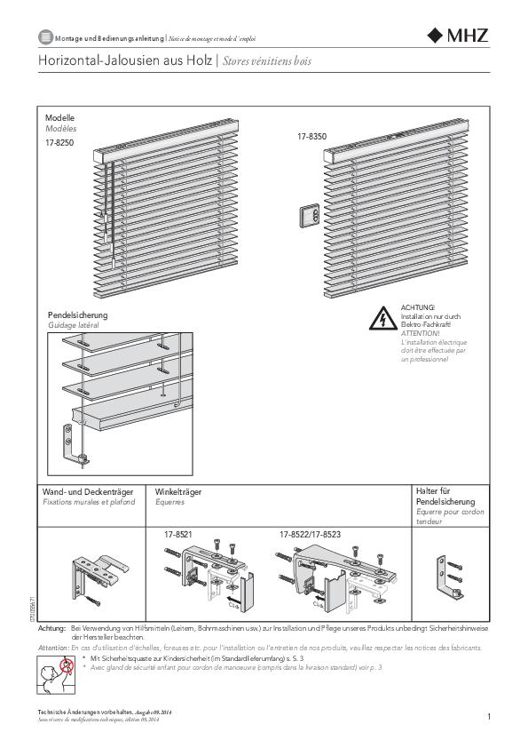Montage und Bedienungsanleitung Horizontal-Jalousien aus Holz STANDARD