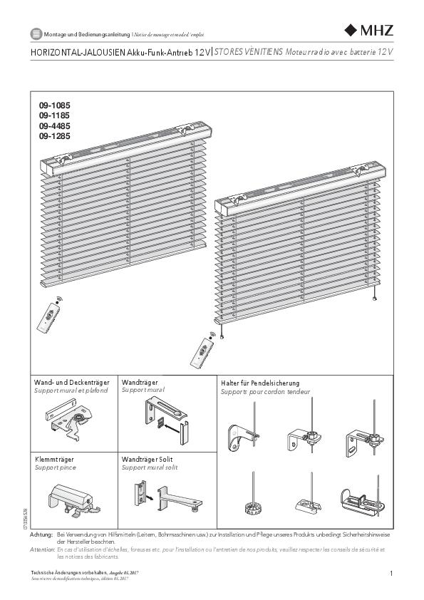 Notice de montage stores vénitiens moteur radio avec batterie 12 V