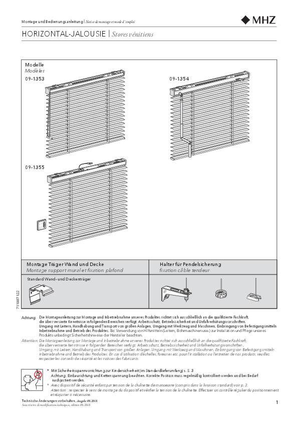 Montage und Bedienungsanleitung Horizontal-Jalousien 50mm