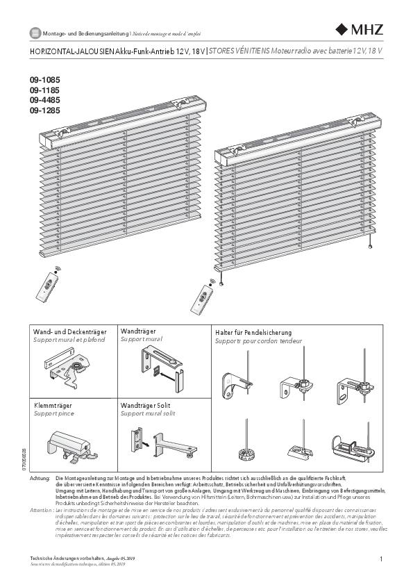 Notice de montage stores vénitiens moteur radio avec batterie