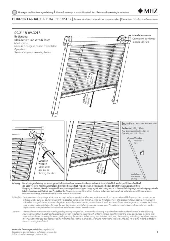 Notice de montage stores vénitiens pour fenêtres de toit