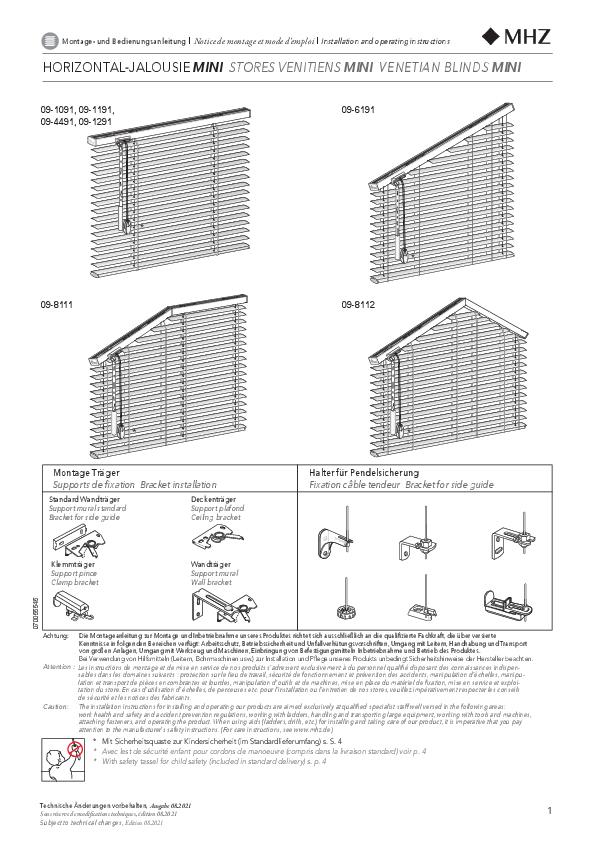 Montage und Bedienungsanleitung Horizontal-Jalousien Schnur, Stab, MINI