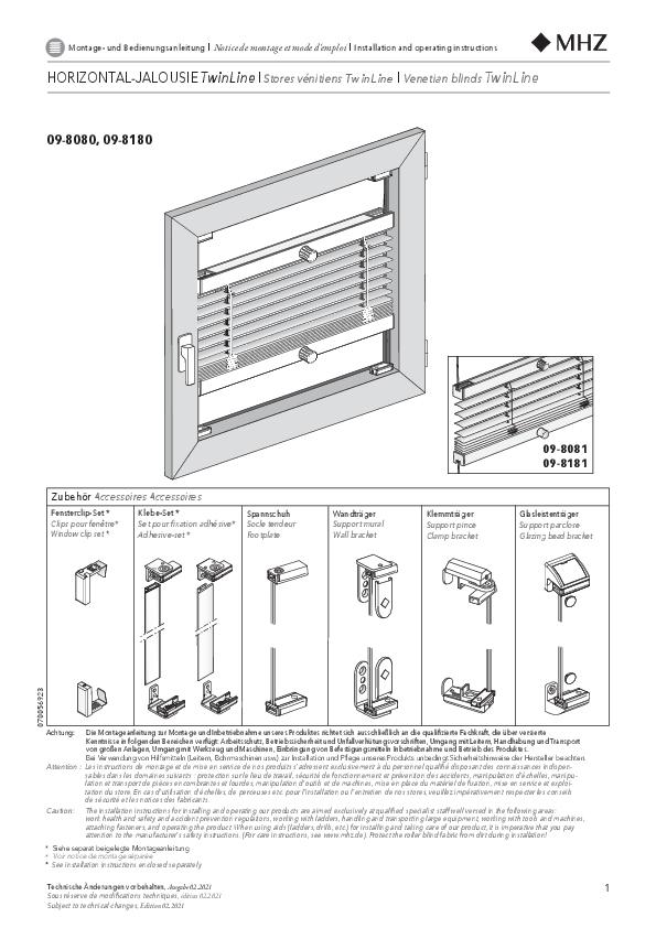 Notice de montage stores vénitiens TwinLine 09-8080, 09-8180
