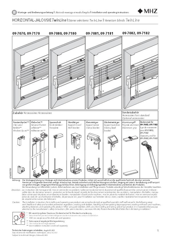 Montage- und Bedienungsanleitung Horizontal-Jalousien TwinLine