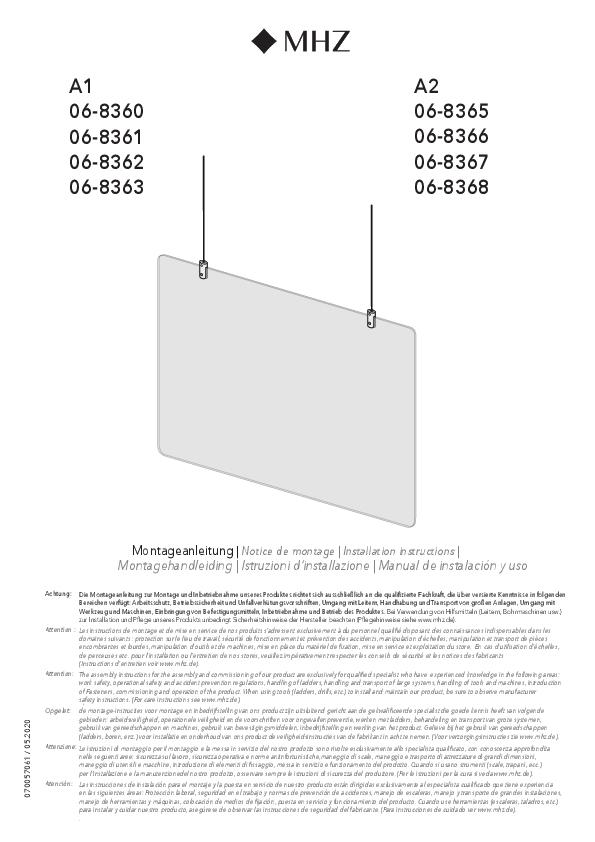 Montagehandleiding preventieproducten hangend preventiescherm A1, A2