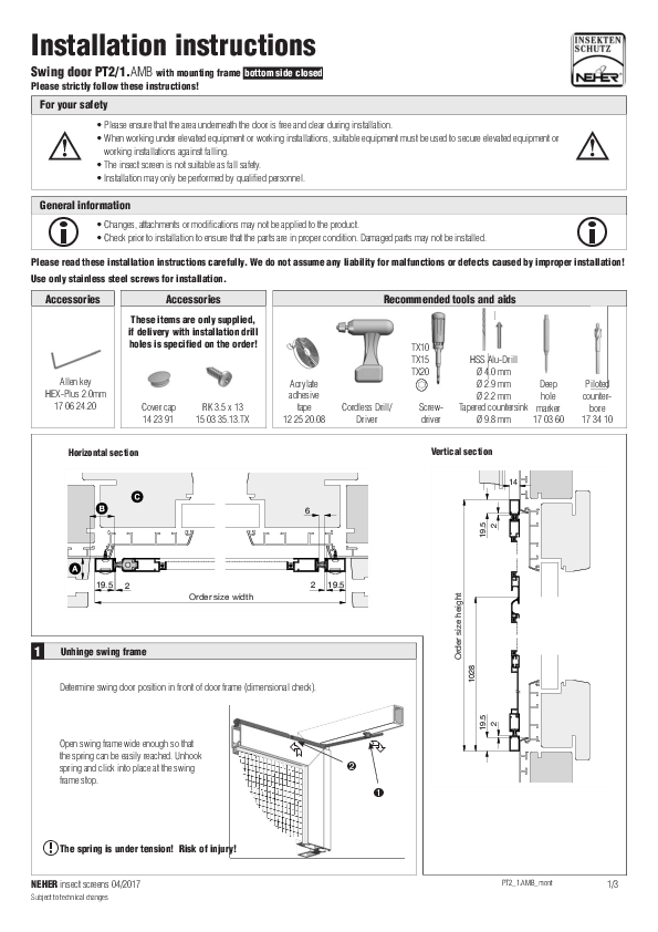 Installation instructions insect screens swing door