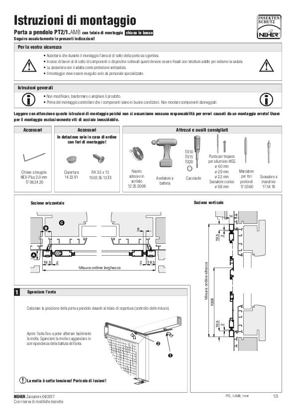 Istruzioni d'installazione zanzariere porta a pendolo