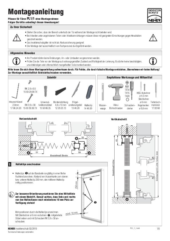 Montageanleitung Insektenschutz Plissee