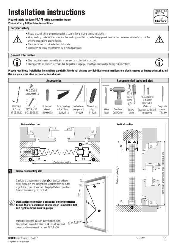 Installation instructions insect screens pleated fabric
