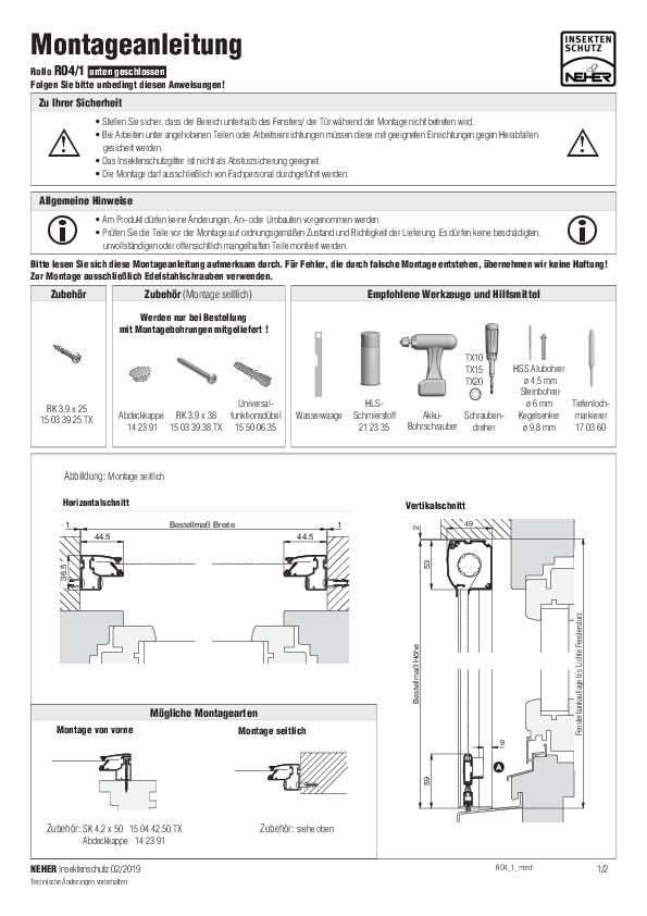 Montageanleitung Insektenschutz Rollo