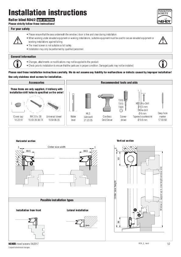 Installation instructions insect screens roller blind