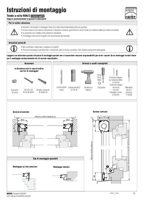 Istruzioni d'installazione zanzariere tenda a rullo