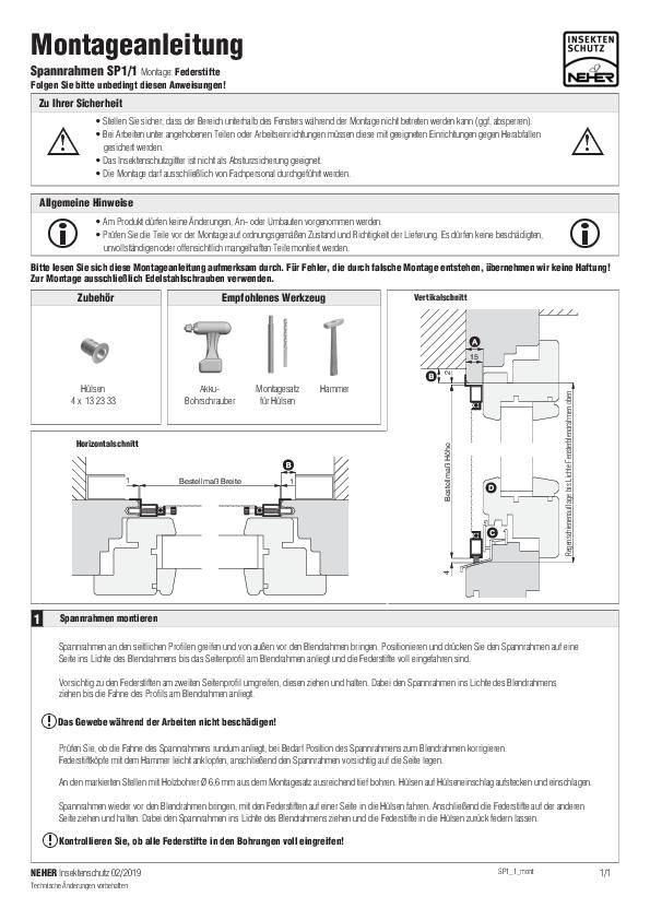 Montageanleitung Insektenschutz Spannrahmen