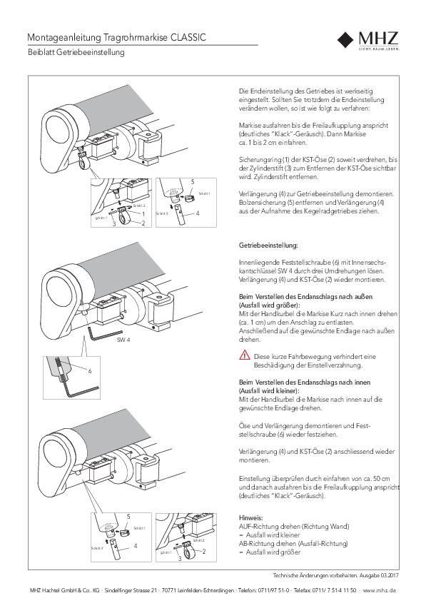 Tragrohrmarkise CLASSIC Getriebeeinstellung
