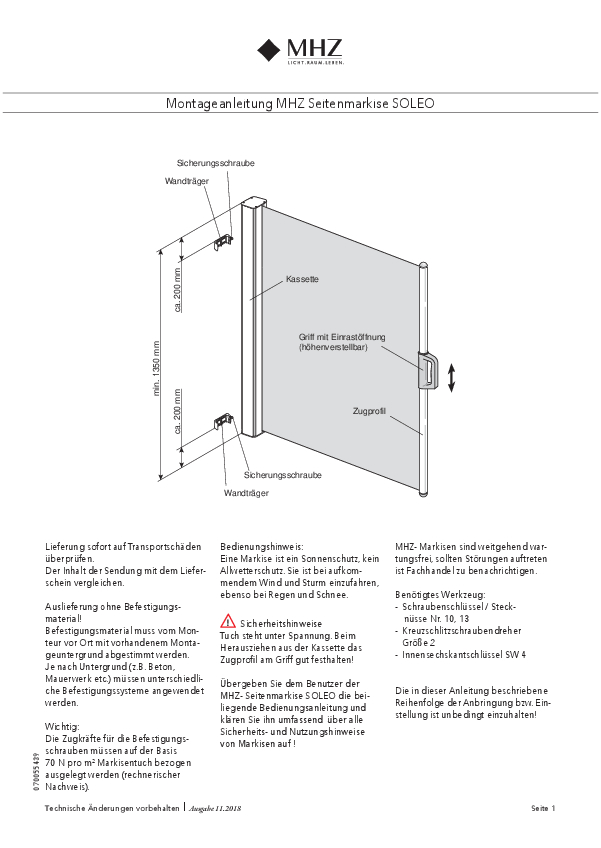 Montageanleitung Seitenmarkise SOLEO