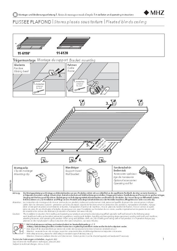 Notice de montage stores plissés 11-6110, 11-6120