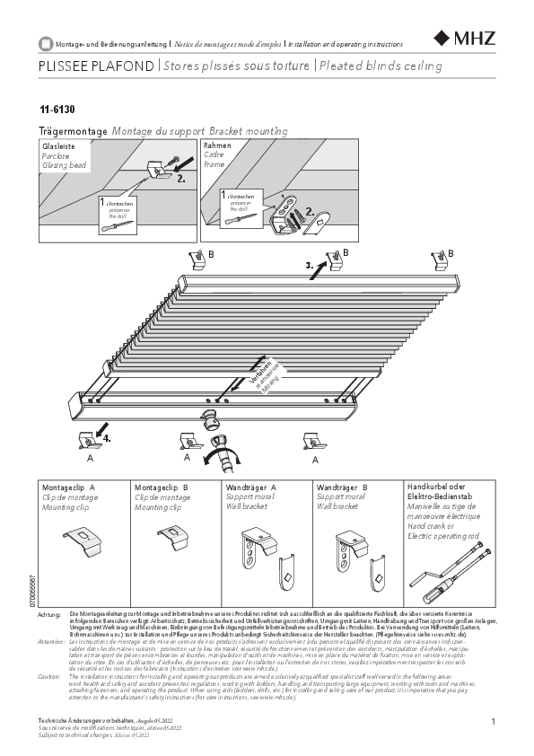 Montage- und Bedienungsanleitung Plissee-Vorhänge 11-6130