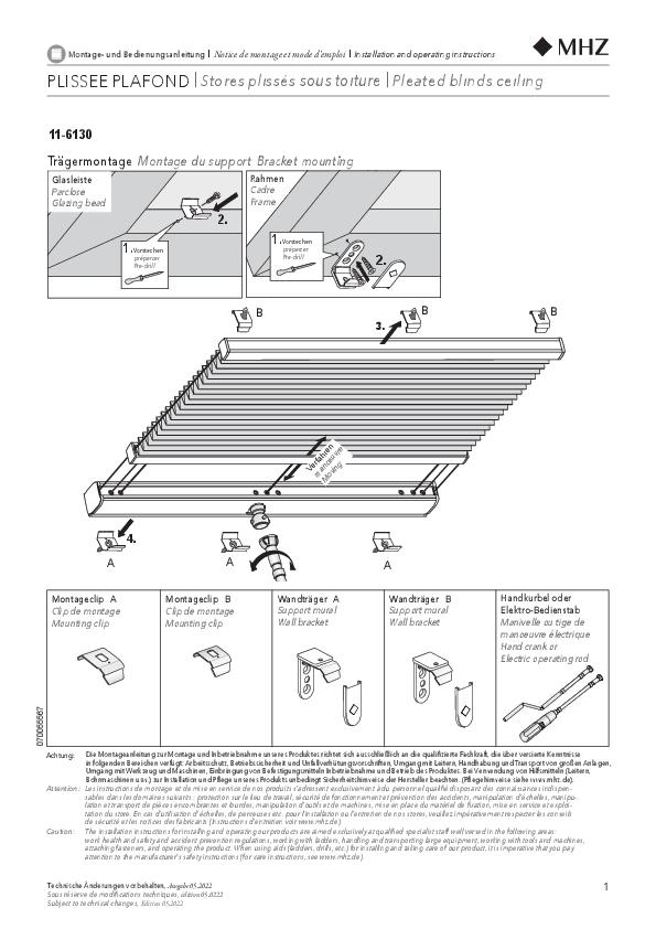 Notice de montage stores plissés 11-6130