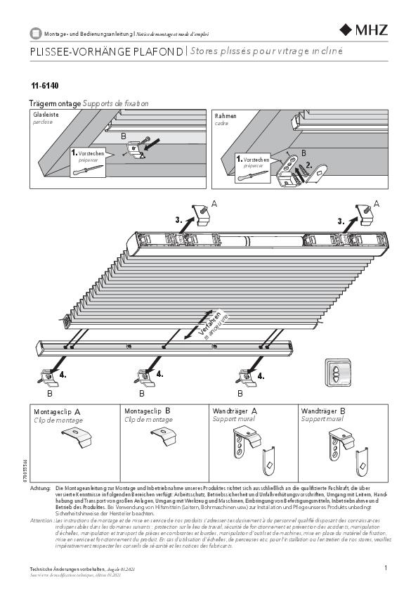 Montage- und Bedienungsanleitung Plissee-Vorhänge 11-6140