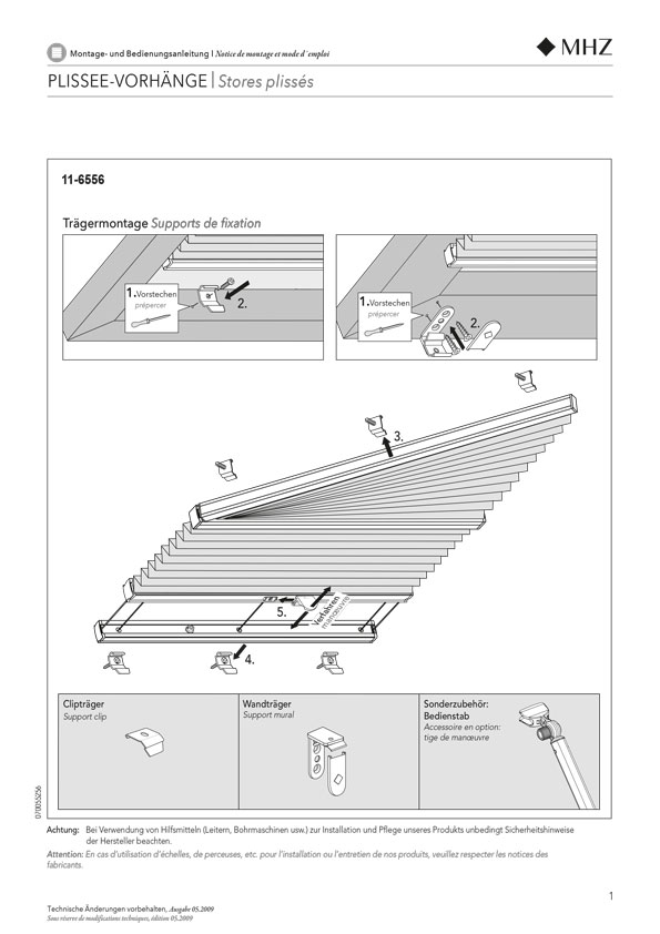 Montage- und Bedienungsanleitung Plissee-Vorhänge 11-6556