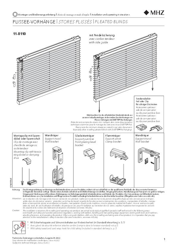 Montage- und Bedienungsanleitung Plissee-Vorhänge 11-8110