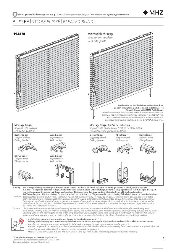 Montage- und Bedienungsanleitung Plissee-Vorhänge 11-8130