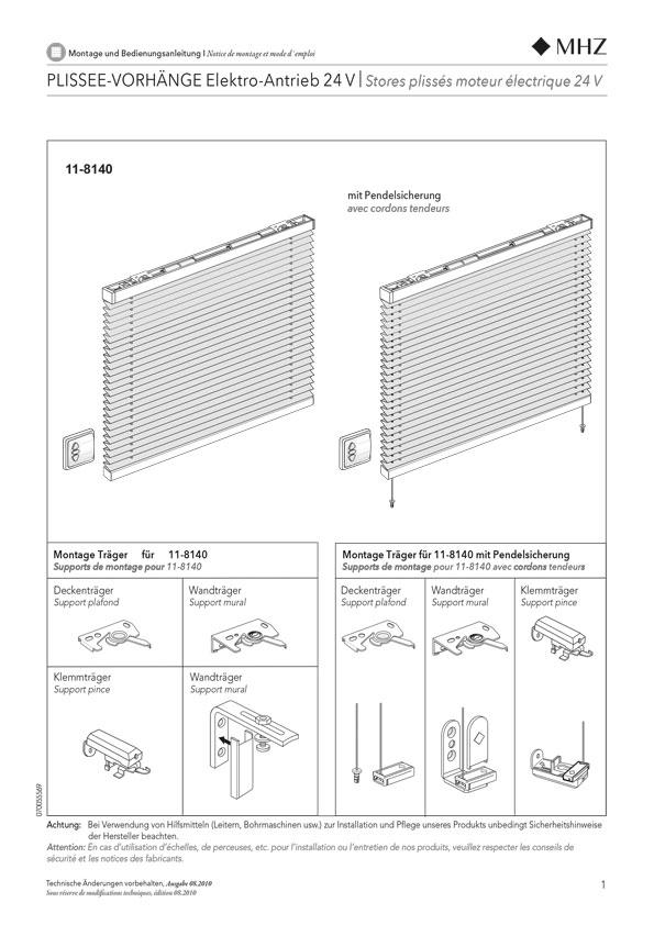 Notice de montage stores plissés 11-8140