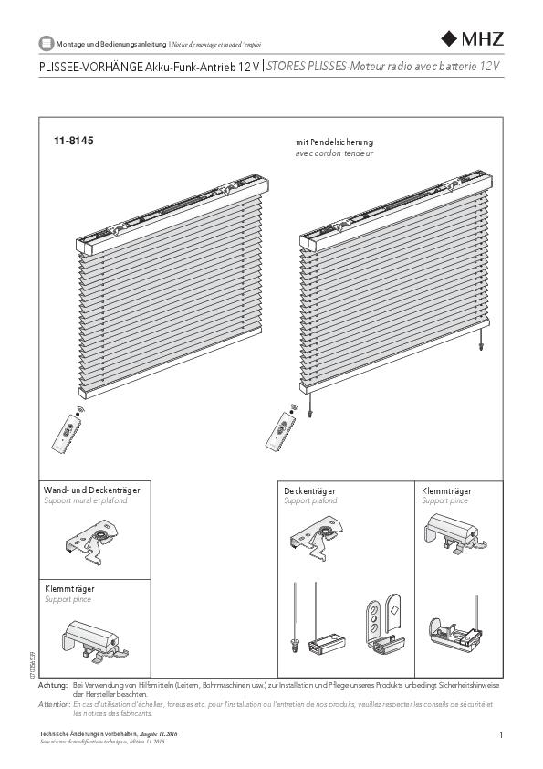 Notice de montage stores plissés 11-8145