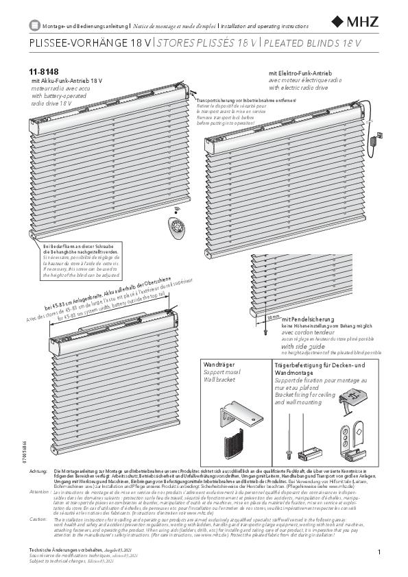 Montage- und Bedienungsanleitung Plissee-Vorhänge 11-8148