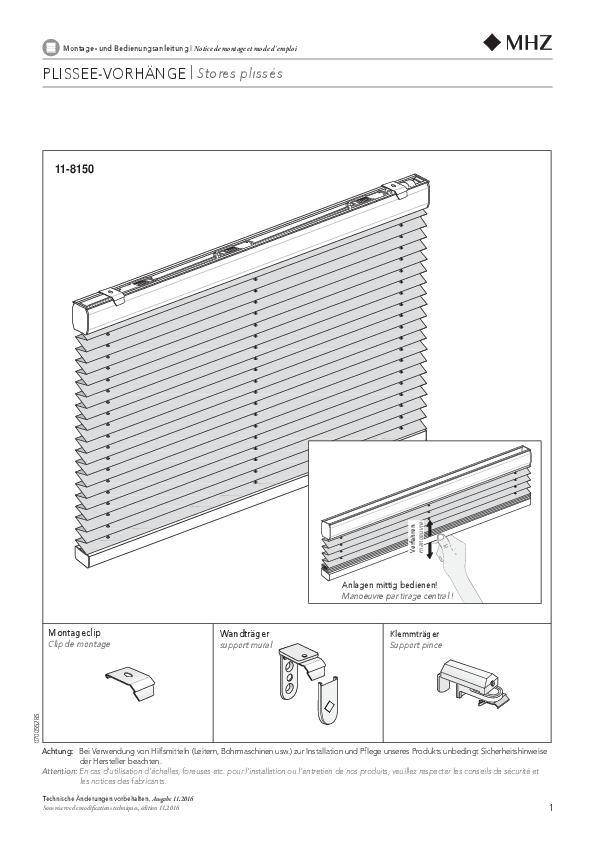 Montage- und Bedienungsanleitung Plissee-Vorhänge 11-8150